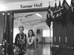 Susan Muroshige (left) and Pauline Sato at the entrance to Turner Hall in the 100th Infantry Battalion Veterans clubhouse. Turner Hall is named for the 100th's first commanding officer, Col. Farrant Turner.