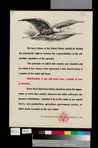 """poster with Pres. Roosevelt's words on """"Americanism"""""""