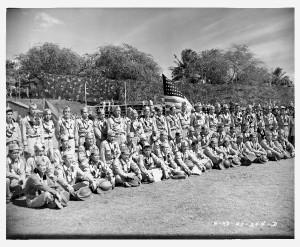 photo of 442nd RCT volunteers taken 4.2.1943 in Aiea